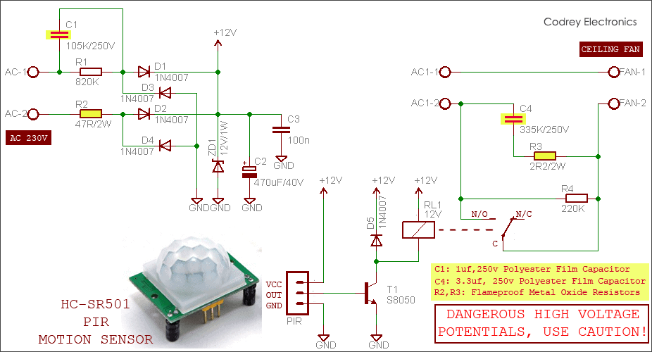 Automatic Fan Switch with PIR Motion Sensor