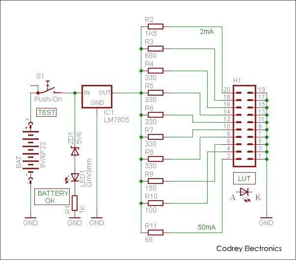 portable led tester codrey electronics rh codrey com led strip tester circuit diagram