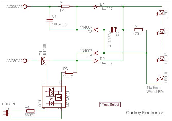 White LED Bulb AC230V - Circuit