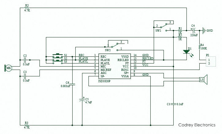 Security System with Voice Playback - ISD1820 Module Circuit