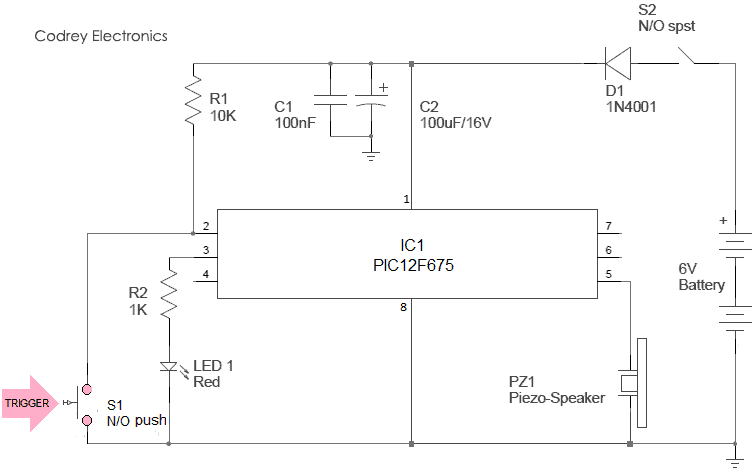 Simple Security Alarm Button - Schematic