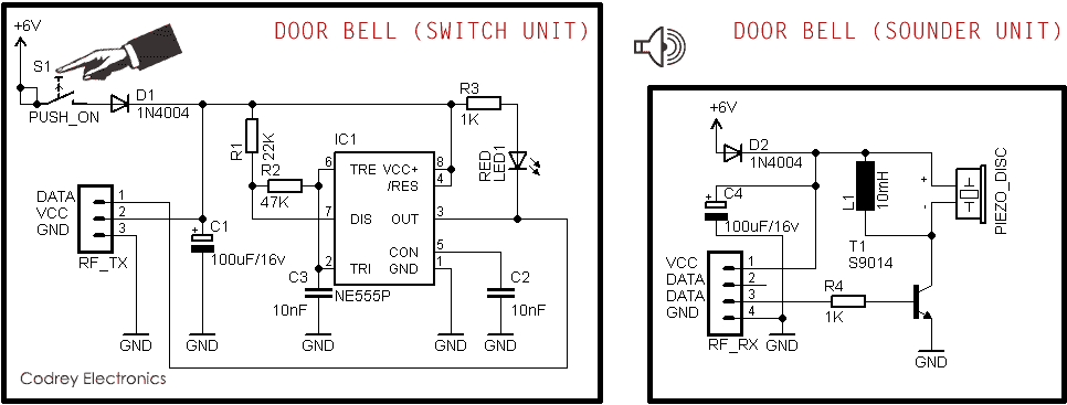 transmitter circuit of wireless doorbell electronics projectsimple wireless door bell codrey electronics transmitter circuit of wireless doorbell electronics project