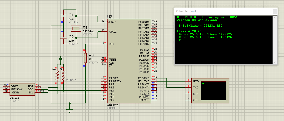Using Real Time Clock (RTC) DS3231 with 8051 Microcontroller - Proteus Schematic