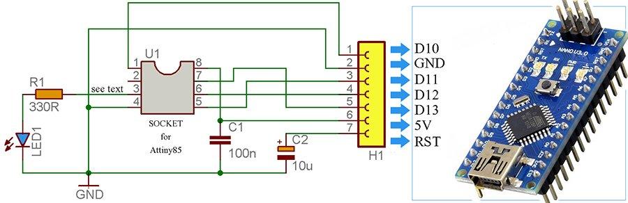 Attiny85 Programming Adapter-Wiring Diagram