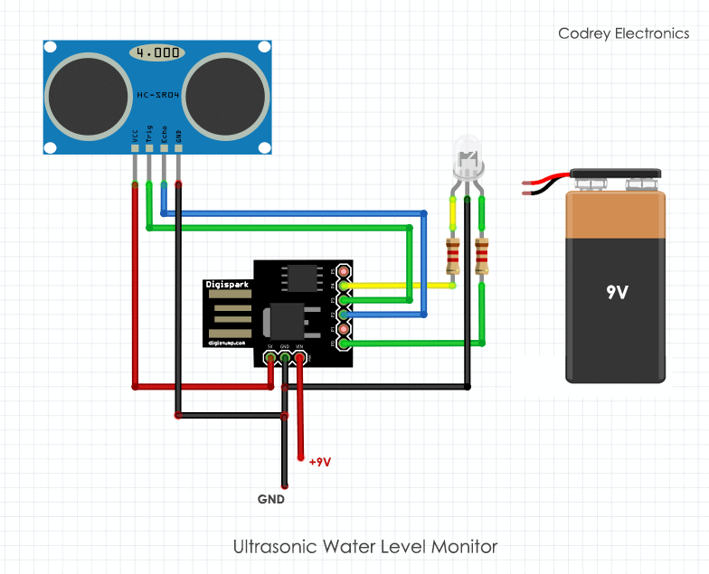 Ultrasonic Water Level Monitor - Connection Diagram
