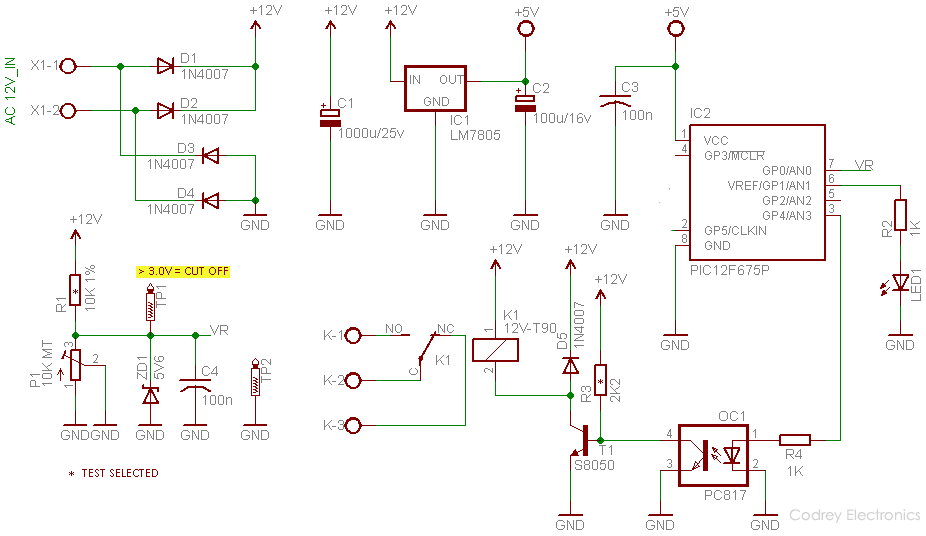 Over Voltage Protector (OVP) Switch PIC - Circuit
