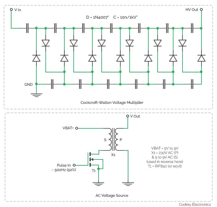 DC Voltage Booster-CW Voltage Multiplier