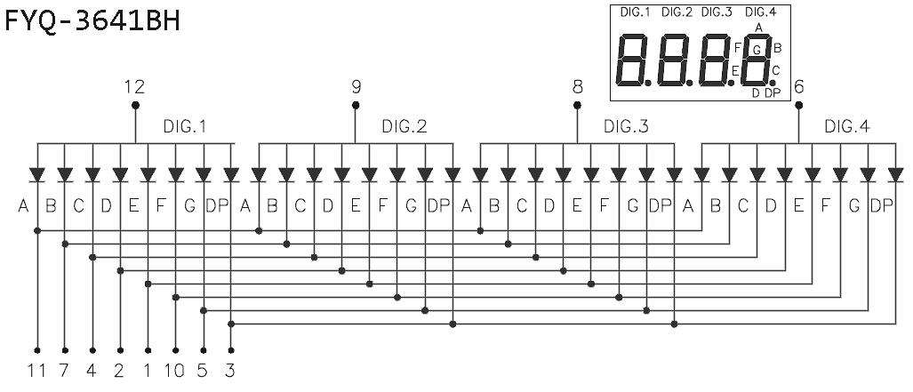 4-Digit 7-Segment LED Display Module-3641BH LED Data