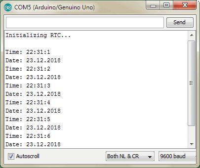 RTC DS1307 Arduino Serial Monitor