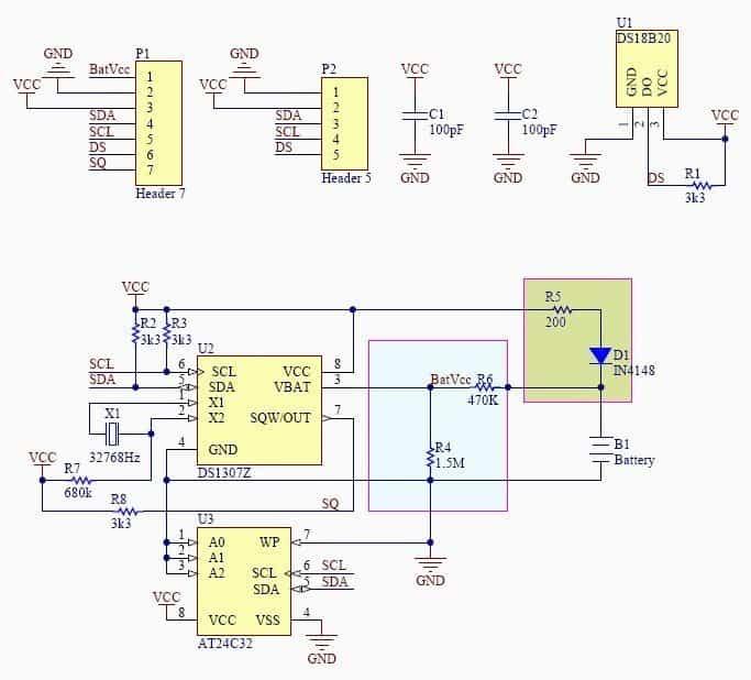Tiny RTC DS1307 Module Schematic