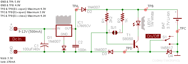 Universal 1W LED Standby Light-Schematic