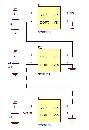 WS2812B Application Circuit