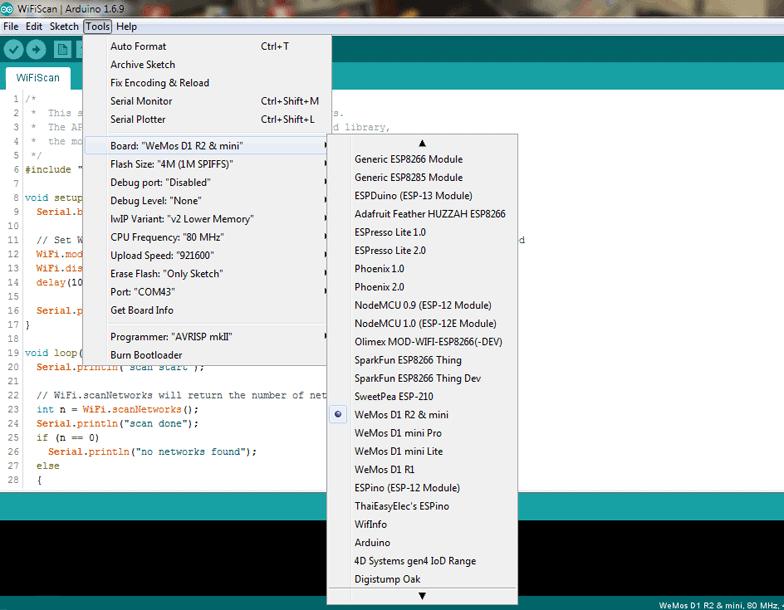 WeMos D1 mini An Introduction-Tools Menu Board