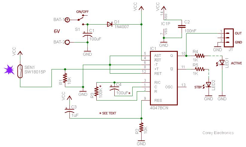 Midnight Security Alarm-Shock Sensor Schematic v1