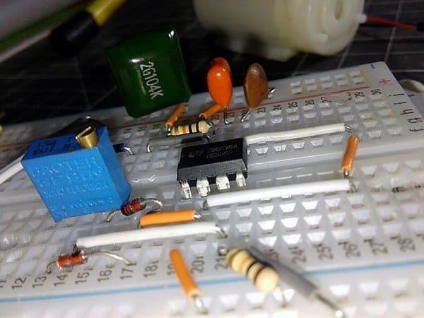 555 PWM Generator-Breadboarded Circuit