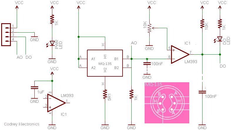 Air Quality Sensor-MQ135 RE Schematic TK
