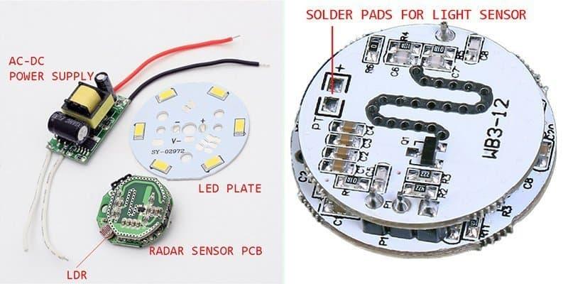 Radar LED Bulb Kit Annotated