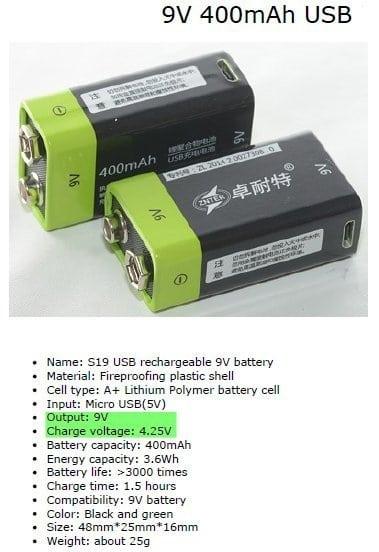 9V USB Battery Specs