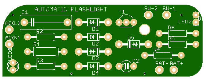 Automatic Rechargeable Flashlight Schematic PCB View