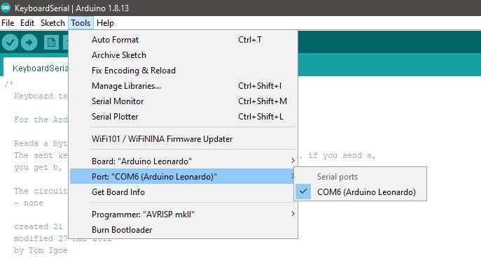 COMP Arduino IDE Snip