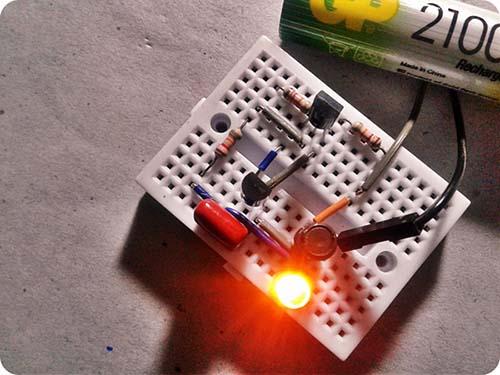 Solar LED Book Light Breadboard Prototype