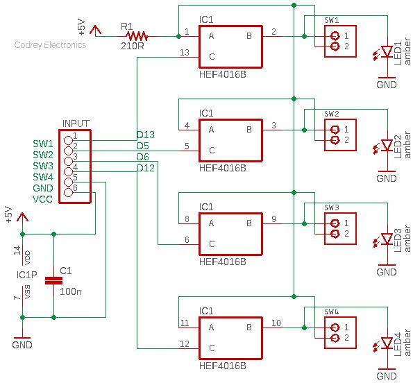 HEF4016B Module LED Test v1
