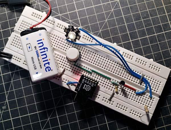 Self-Dimming Lamp Breadboard Prototype