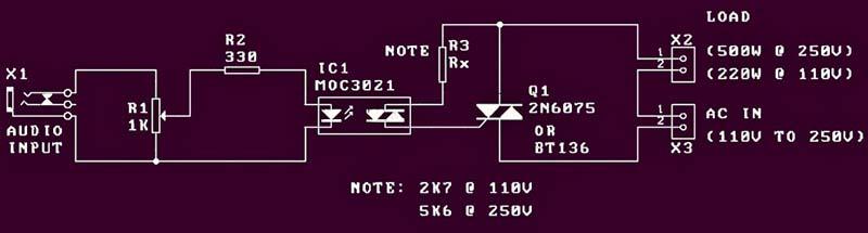 Audio-Light Modulator Kit Circuit