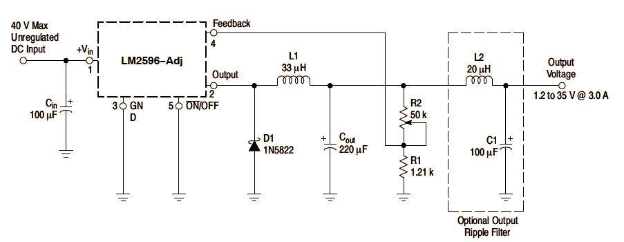 LM2596AJ Example Application