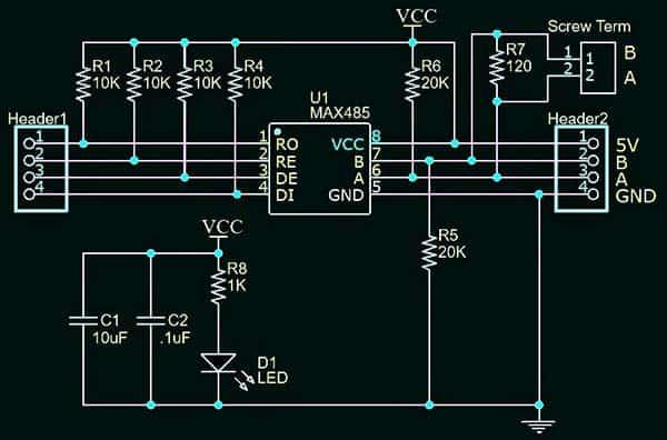 MAX485 Module Schematic