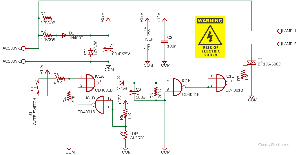 Automatic Entryway Light Controller Circuit