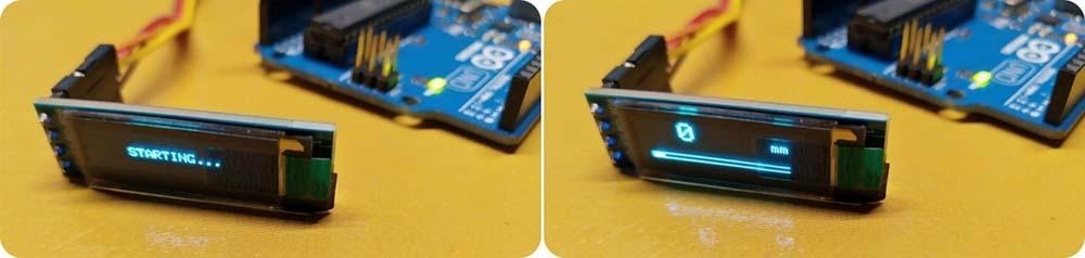Arduino Distance Meter Test OLED Readout Begin